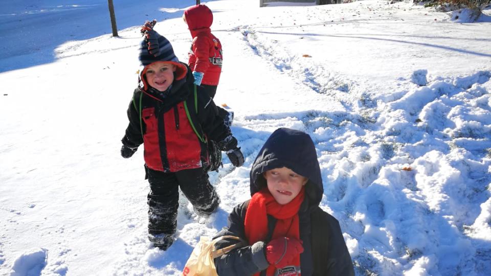 DeCairos DeBoer's boys play in the snow. (Handout)
