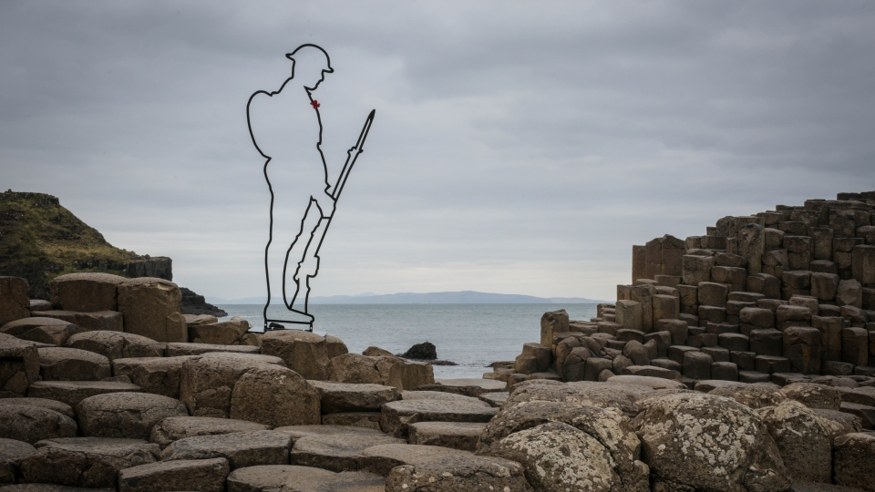 A statue at Giant's Causeway in Northern Ireland is seen here. (Source: There But Not There)