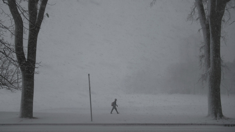 A pedestrian walks through blizzard-like conditions in Halifax on Tuesday, March 13, 2018. (Darren Calabrese/THE CANADIAN PRESS)