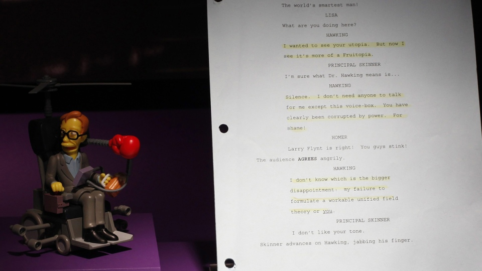 A marked script from a 1999 'The Simpsons' episode which features Stephen Hawking on display along with a model of his character in the Science Museum in London, on Jan. 19, 2012. (Alastair Grant / AP)