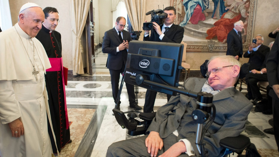 Pope Francis greets Stephen Hawking during an audience with participants at a plenary session of the Pontifical Academy of Sciences, at the Vatican, on Nov. 28, 2016. (L'Osservatore Romano/pool photo via AP, File)