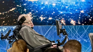 Stephen Hawking at the announcement of a Breakthrough Initiative focusing on space exploration and the search for life in the universe, at One World Observatory in New York, on April 12, 2016. (Bebeto Matthews / AP)
