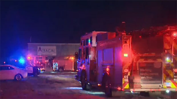 Calgary fire crews respond to a fire at a business in the 5900 block of 84 Street S.E.