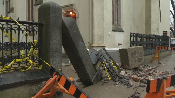 Halifax's historic St. Matthew's United Church on Barrington Street was damaged in the March 13, 2018 storm. A piece of the steeple fell off the church and onto a fence.