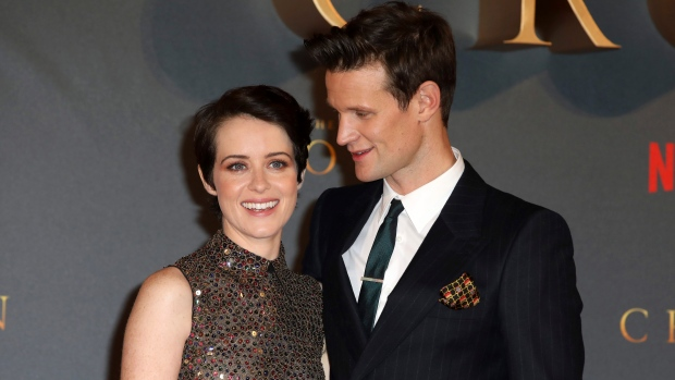In this Tuesday, Nov. 21, 2017 file photo, actors Claire Foy, left, and Matt Smith pose for photographers on arrival at the premiere of series 'The Crown, Season 2' in central London. (Photo by Grant Pollard/Invision/AP, File)