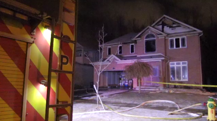 The fire started just before 7:30 p.m. at a home on Tovell Drive in Guelph.