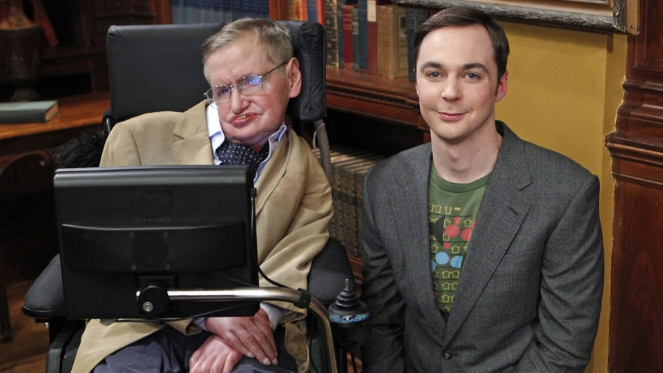 Stephen Hawking, left, with 'The Big Bang Theory' star Jim Parsons in Los Angeles, on March 9, 2012. (CBS, Sonja Flemming / AP)
