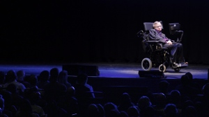 Stephen Hawking appears on stage in Seattle, on June 16, 2012. (Ted S. Warren / AP)