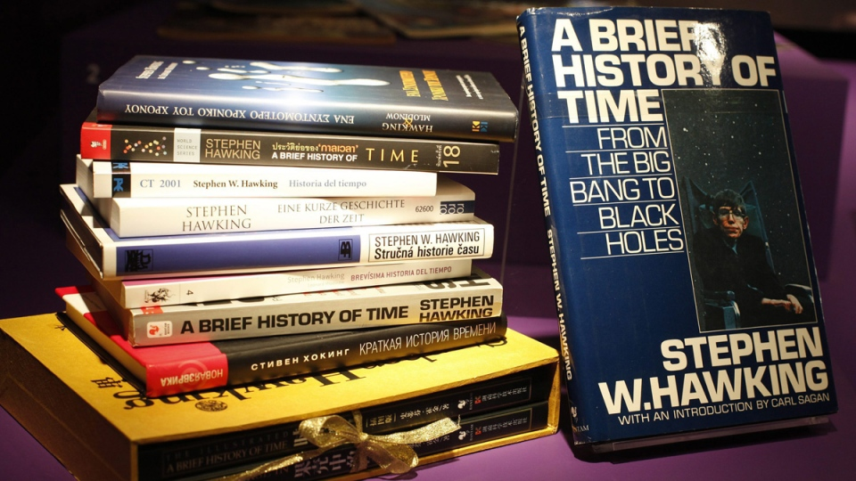 Stephen Hawking's most famous book 'A Brief History of Time' on display at the Science museum in London, on Jan. 19, 2012. (Alastair Grant / AP)