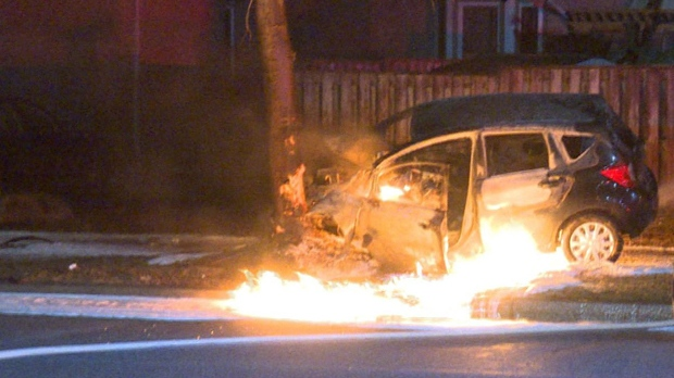 Peel Regional Police released this photo of a collision in Mississauga in the early morning hours of Mar. 14, 2018. (PRP)
