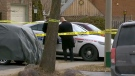 Police officers at the scene of a suspicious death on Hilling Drive in Ajax on March 14, 2018.
