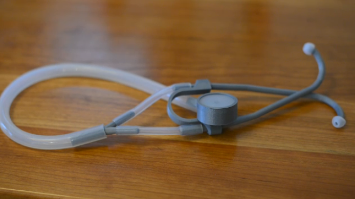 The 3D-printed stethoscope takes less than three hours to produce and costs less than $3.