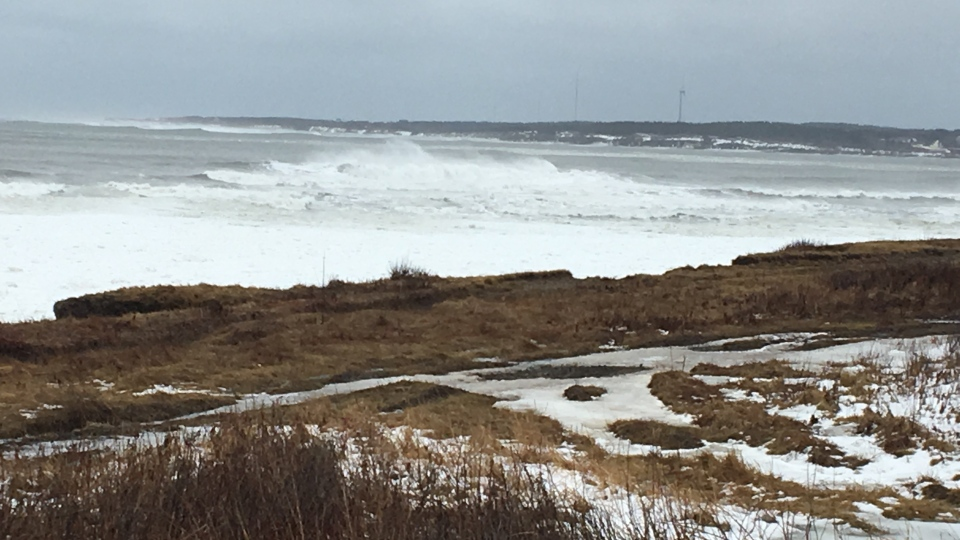 Waves crash on the shores of Glace Bay, N.S. on March 14, 2018 following a winter storm that brought strong wind gusts to the region.