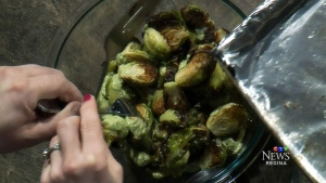 Brussels sprouts with a cashew cilantro dressing