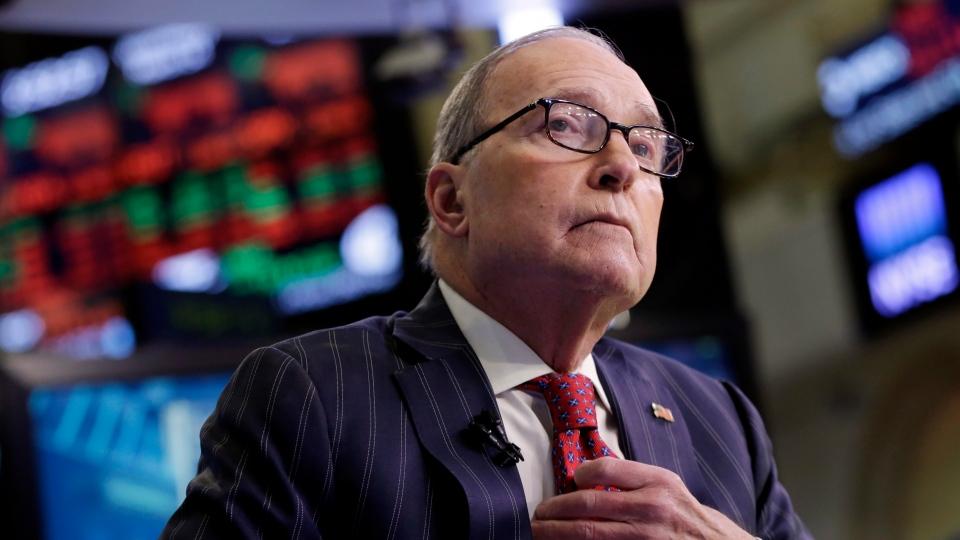 File photo of Larry Kudlow on the floor of the New York Stock Exchange, Wednesday, March 14, 2018. (AP Photo/Richard Drew)