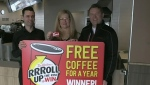 Woman wins free coffee for a year