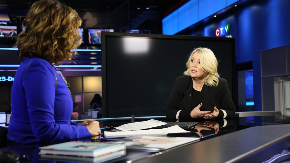 CTV Chief Anchor Lisa LaFlamme speaks with singer-songwriter Jann Arden, in Toronto, on Wednesday, March 14, 2018.