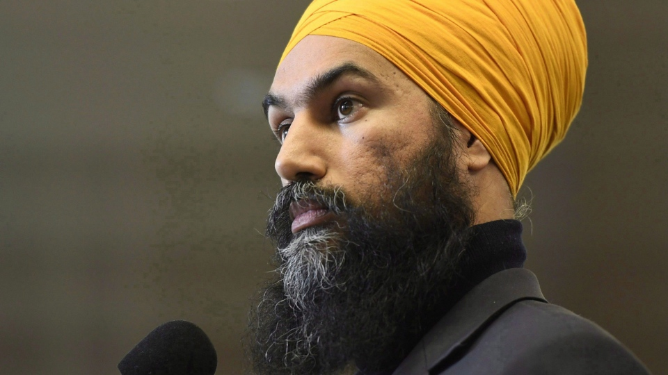 NDP Leader Jagmeet Singh speaks at an availability following caucus meetings in Ottawa on Thursday, Jan. 25, 2018. THE CANADIAN PRESS/Justin Tang