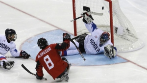 Tyler McGregor of Canada scores a goal past goalie Lee Jae-woong of South Korea during a semifinal of the ice hockey game at the 2018 Winter Paralympics in Gangneung, South Korea pm Thursday, March 15, 2018. (AP Photo/Lee Jin-man)
