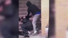 Police in Mississauga, Ont. are searching for three male suspects after security cameras captured them punching and kicking a man with autism at Square One bus terminal on March 13, 2018.