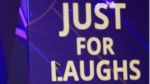 The logo for 'Just for Laughs' is seen at the P.K. Subban All-Star Comedy Gala at the Just for Laughs comedy festival in Montreal on Monday, August 1, 2016. THE CANADIAN PRESS/Graham Hughes