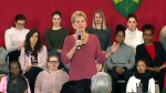 Premier Kathleen Wynne speaks to a packed room of college students at Humber on March 16, 2018.