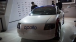 A driverless car named 'Apollo' at the annual Baidu World Technology Conference in Beijing on Nov. 16, 2017. (FRED DUFOUR / AFP)