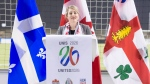 Heritage Minister Melanie Joly speak to the media during a press conference at Olympic Stadium, Friday, March 16, 2018 in Montreal. Joly announced that Montreal has been named as a host city candidate for the 2026 FIFA World Cup bid.THE CANADIAN PRESS/Ryan Remiorz