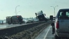 Emergency crews at the scene of Friday afternoon's crash on Deerfoot Trail near Deerfoot Meadows