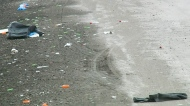Medical litter scattered along Ring Road