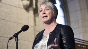 Minister of Employment, Workforce Development and Labour Patty Hajdu speaks to reporters during a weekend meeting of the national caucus on Parliament Hill in Ottawa on Saturday, March 25, 2017. THE CANADIAN PRESS/Justin Tang
