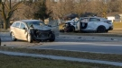 One man suffered major injuries in a two-vehicle collision near Stevenson and Bennett streets in Guelph. (Andrew Mac)