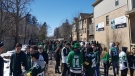 Police break  up a large St. Patrick's Day gathering at 83 St. George St. on Saturday, March 17, 2018.