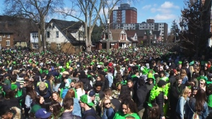 Ezra Avenue in Waterloo was jammed full during St. Patrick's Day celebrations on Saturday, March 17, 2018.