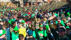 A jam-packed crowd of people celebrating St. Patrick's Day led to police closing Ezra Avenue in Waterloo on Saturday, March 17, 2018. (Tina Yazdani / CTV Kitchener)