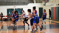 The U17 Vancity Reign girls basketball team plays a game against the Vancouver-Strathcona basketball club at Britannia Secondary Schooll on March 15, 2018.