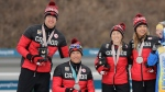 Natalie Wilkie, Emily Young, Chris Klebl and Mark Arendz of Canada celebrate during the medal ceremony for the 4x2.5km mixed relay of cross-country skiing at the 2018 Winter Paralympics in Pyeongchang, South Korea, Sunday, March 18, 2018. (AP Photo/Lee Jin-man)