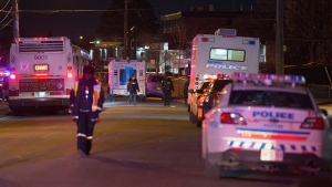 Police respond to a shooting outside a North York bowling alley Saturday March 17, 2018. (John Hanley)