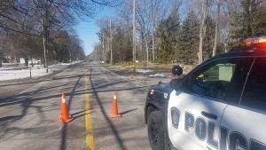 Sarnia police investigate a crash involving a pedestrian on Sunday, March 18, 2018. (Sarnia police photo)