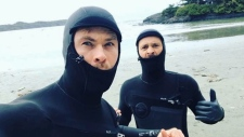 The Australian actor posted a photo of himself wearing a wet suit in Tofino. (Instagram/Chris Hemsworth)