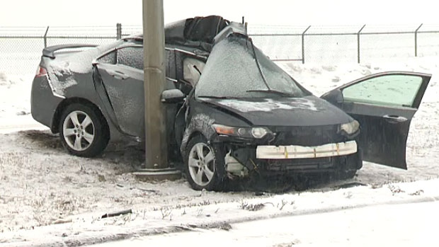 A man was sent to hospital on Sunday morning after he crashed his vehicle into a light standard on 52 Street S.E.