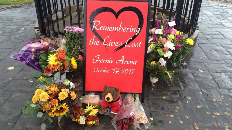 A memorial is seen outside of City Hall in Fernie, B.C. on Friday, October 20, 2017. Months after an ammonia leak killed three men at an ice rink in southeastern British Columbia, some industry experts are raising concerns about the staffing and inspections of arenas using the hazardous gas.(THE CANADIAN PRESS/Lauren Krugel)