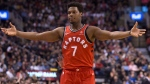 Toronto Raptors Kyle Lowry reacts after being fouled out of the game during second half of his team's 132-125 loss to the Oklahoma City Thunder during NBA basketball action in Toronto on Sunday, March 18, 2018. THE CANADIAN PRESS/Chris Young