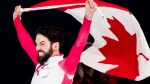 Charles Hamelin, of Canada, celebrates after becoming the ISU men's world short-track speedskating champion in Montreal, Sunday, March 18, 2018. THE CANADIAN PRESS/Graham Hughes