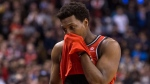 Toronto Raptors Kyle Lowry reacts during the second half of his team's 132-125 loss to the Oklahoma City Thunder in NBA basketball action in Toronto on Sunday, March 18, 2018. THE CANADIAN PRESS/Chris Young