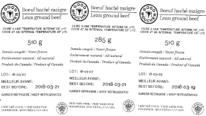 Good Boucher Lean Ground Beef labels (CFIA / handout)