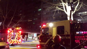 Three people were taken to hospital after a fire broke out at Sunset Towers on Barclay Street in Vancouver late Sunday, March 18, 2018.