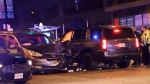 A minivan collided with a police SUV at Cambie and 12th in Vancouver Sunday, March 18, 2018.