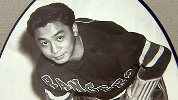 Larry Kwong worked his way through the minor leagues before getting one minute of NHL ice time with the New York Rangers.