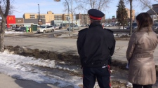 Officers and CAA staff observed drivers and pedestrians at five lit crosswalks across the city on Tuesday March 13 for an hour and a half and found more than half of all interactions between the two groups of road users involved traffic violations. (Source: Josh Crabb/CTV News)
